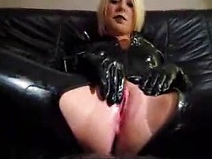 Mind blowing fucking session with blonde wife in latex outfit